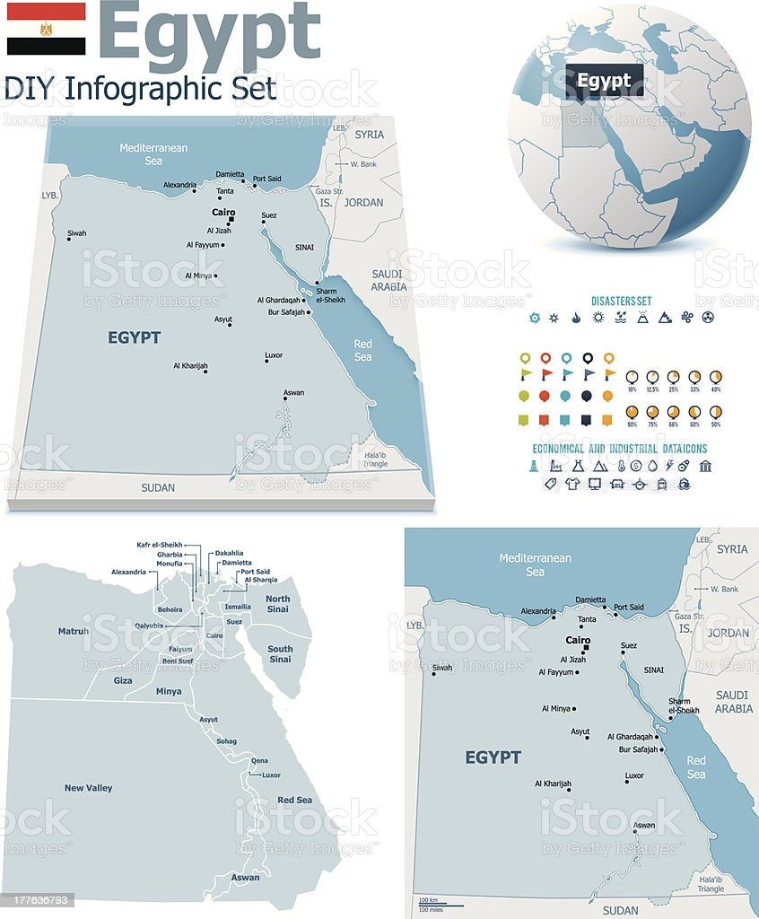 Egypt maps with markers royalty-free stock vector art