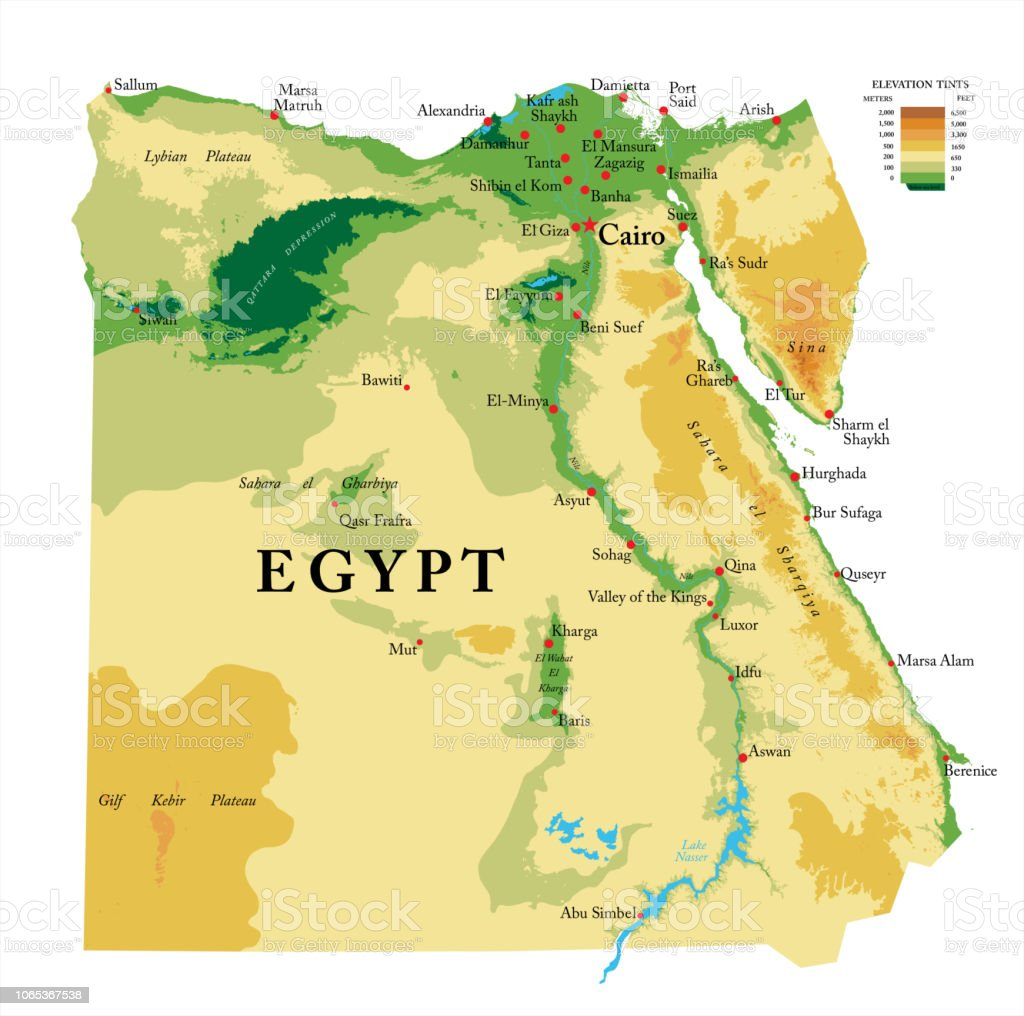 Image of: Egypt Physical Map Stock Illustration Download Image Now Istock