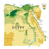 Highly detailed physical map of the Egypt, in vector format,with all the relief forms,regions and big cities.