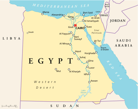 Egypt Political Map Stock Illustration - Download Image Now
