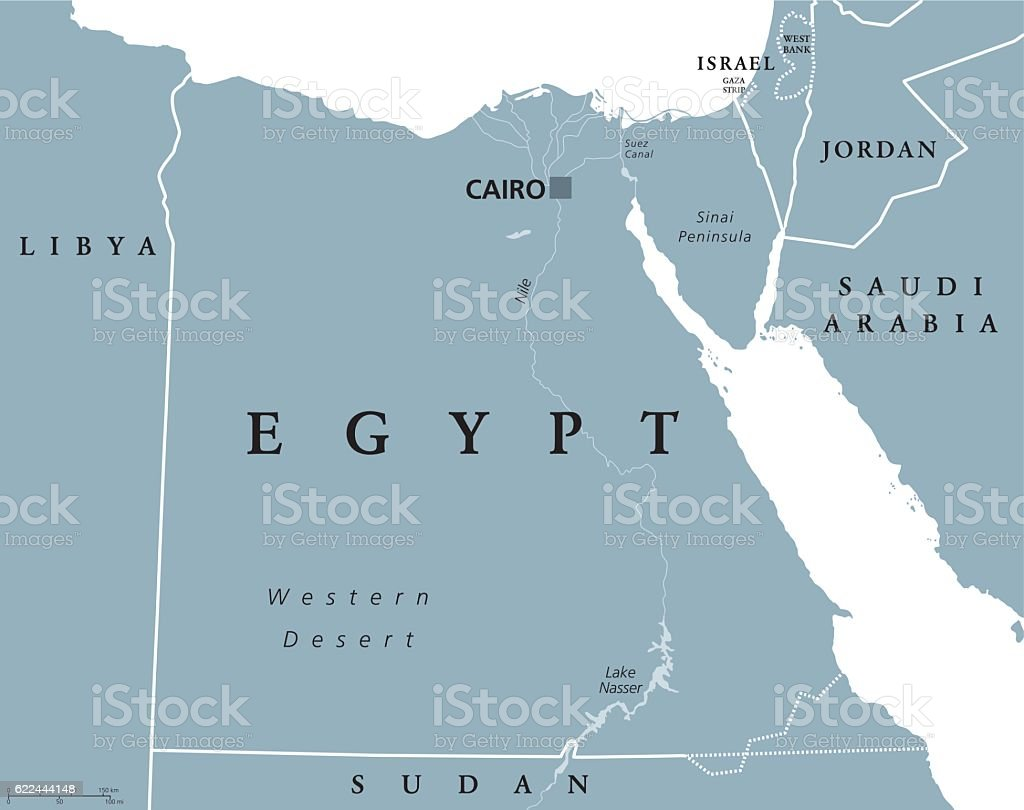 Egypt political map with capital Cairo - ilustración de arte vectorial