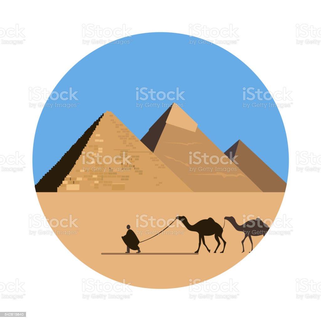 Egypt pyramid icon vector art illustration
