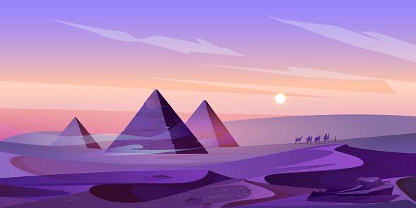 Egypt pyramids and Nile river in dusk desert.