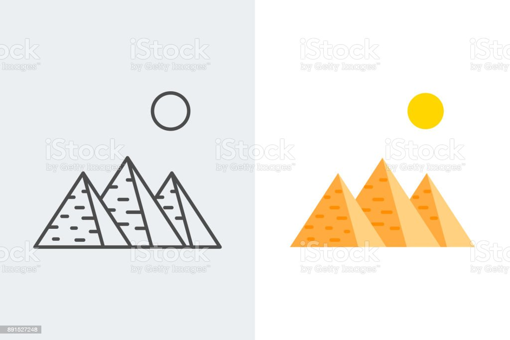 Egypt, pyramids line and flat style icons vector art illustration