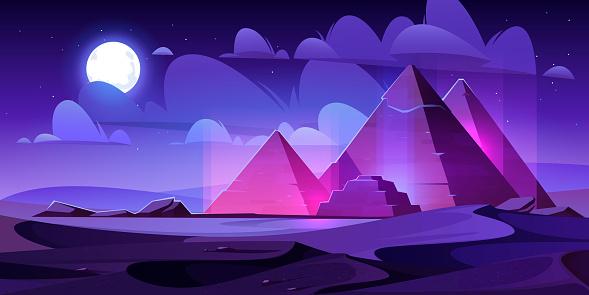 Egypt pyramids night desert, egyptian pharaoh tomb