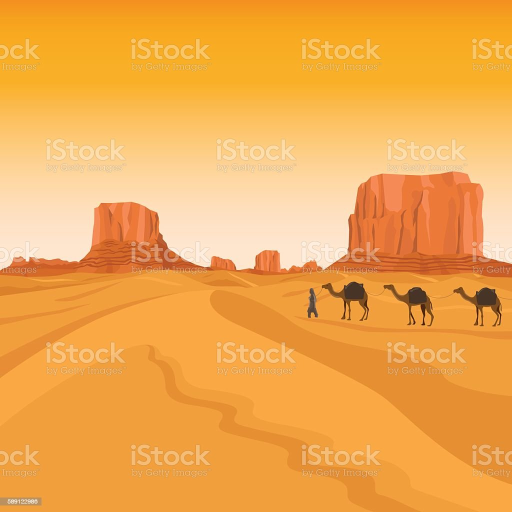 Egypt sahara desert with camels vector art illustration