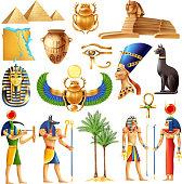 Egypt symbols set in cartoon style with ancient egyptian deities pyramid ankh tutanhamon nefertiti  eye of horus signs vector illustration