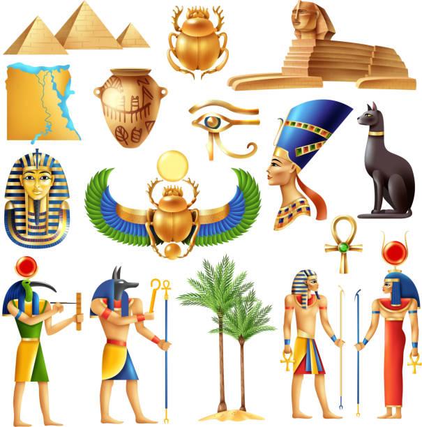 egypt set Egypt symbols set in cartoon style with ancient egyptian deities pyramid ankh tutanhamon nefertiti  eye of horus signs vector illustration egyptian culture stock illustrations