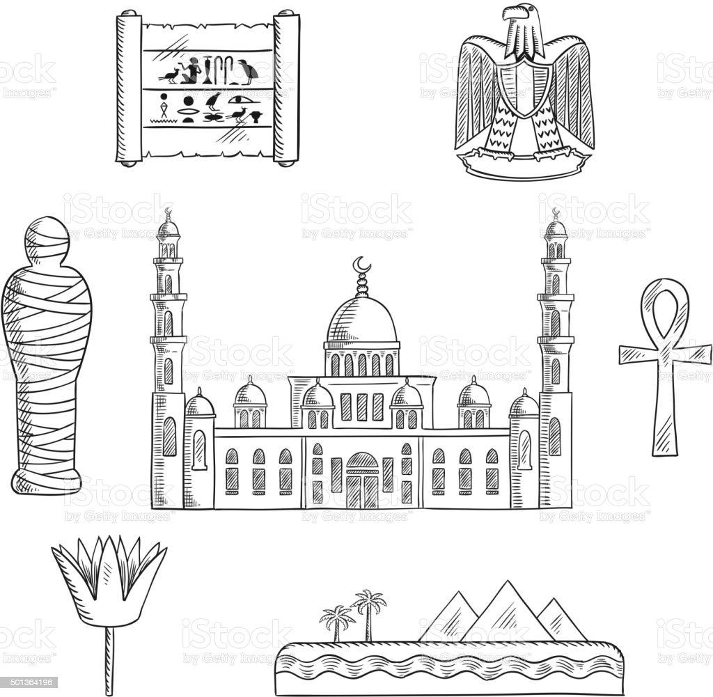 Egypt sketched travel landmarks and symbols vector art illustration