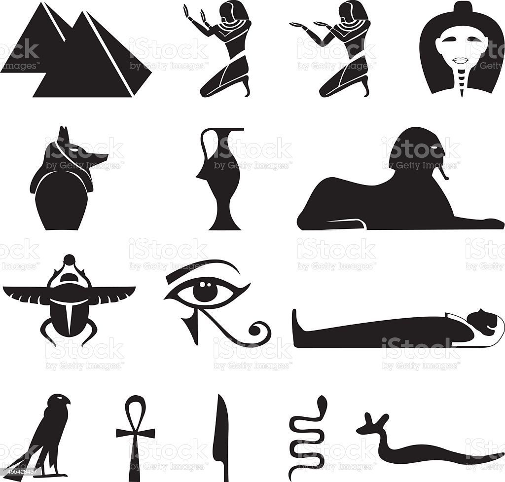 Egypt Symbols Silhouettes Stock Vector Art More Images Of Ankh