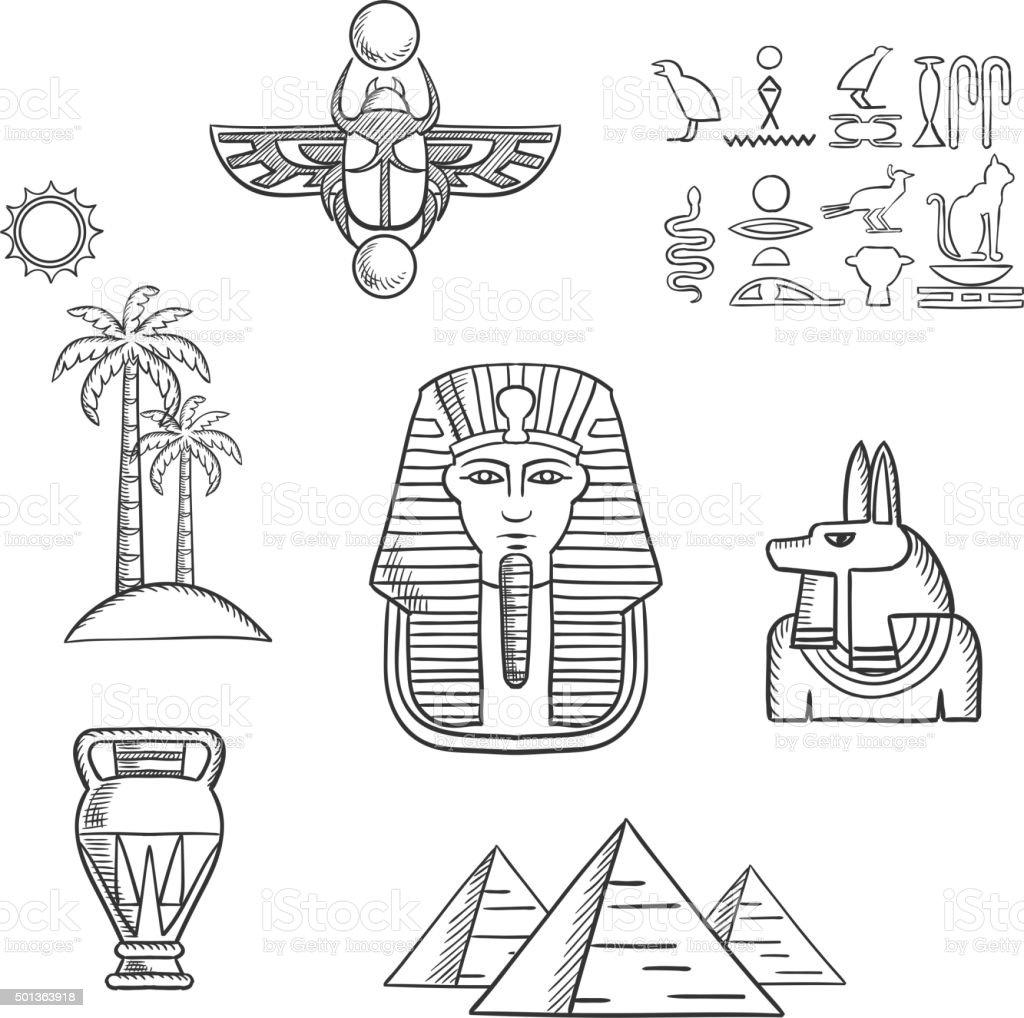 Ilustraci 243 N De Egipto Antiguo De Dibujo Iconos De Viajes Y