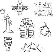 Egypt travel and ancient sketch icons