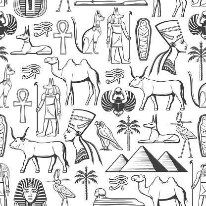 Egypt travel and religion seamless pattern