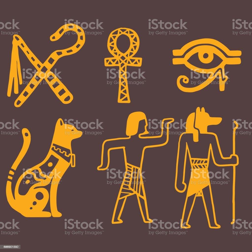 Egypt travel history sybols hand drawn design traditional hieroglyph vector illustration style vector art illustration