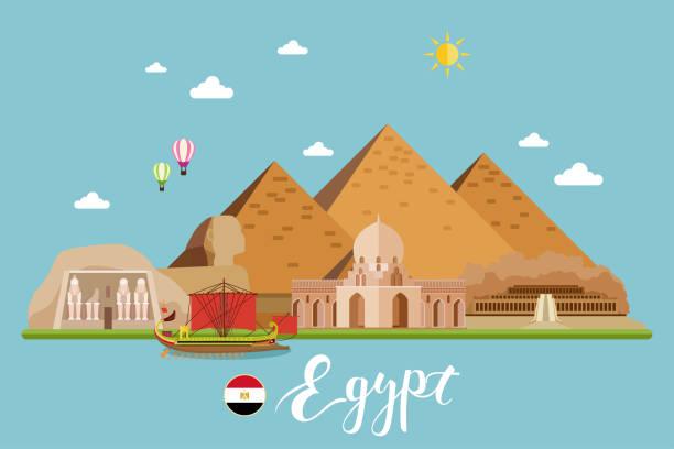 Egypt Travel Landscape Vector Illustration vector art illustration