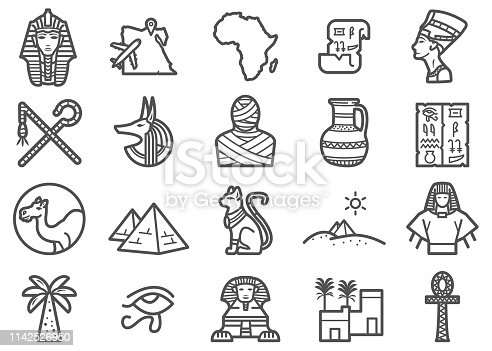 There is a set of icons about Egypt Travel and  related Ancient Egypt in the style of Clip art.