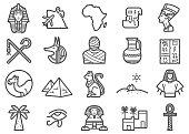 Egypt travel Line Icons Set
