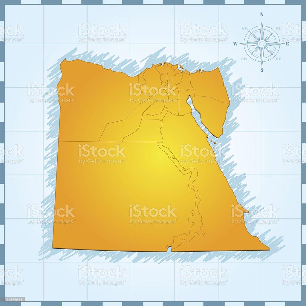Egypt travel map vintage royalty-free stock vector art