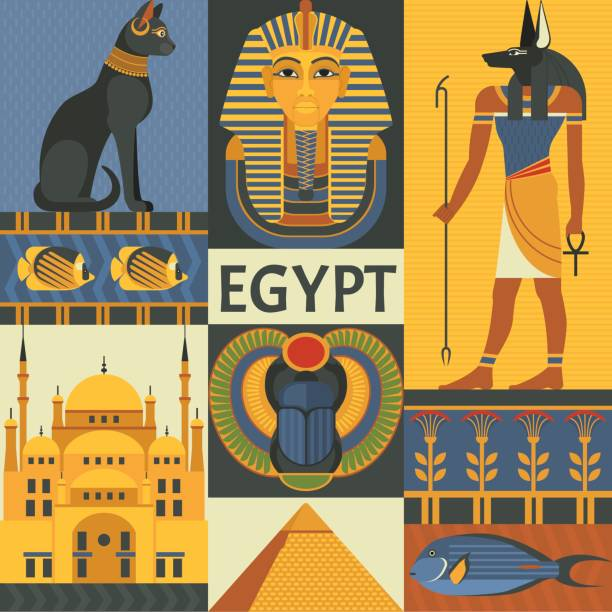 Egypt travel poster concept. Vector illustration with Egyptian culture and nature images, including pyramid, Anubis, Bastet, Tutankhamen, scarab and mosque. Isolated on background. egypt stock illustrations