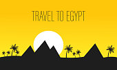 Egypt Travel Vector Banner with Lettering, Text. Pyramids of Giza Vector Illustration. Palm Silhouette. Sunset in Desert Flat Drawing. Travel Agency Flyer. Archeology Landmark, Attraction Flat Drawing