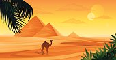 Pyramids in Egypt and camel.
