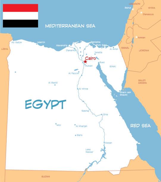 ilustrações, clipart, desenhos animados e ícones de egito - mapa do oriente médio