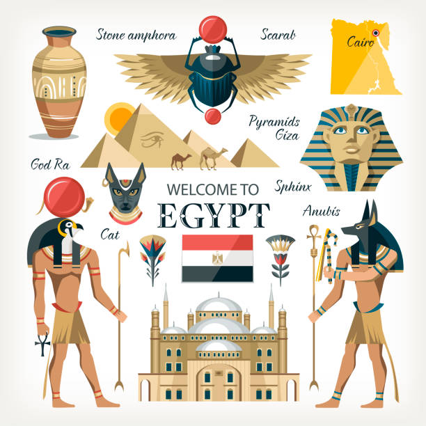 Egypt Egypt collection set with  traditional symbols of country giza pyramids gods pharaoh cairo citadel scarab and other egypt stock illustrations