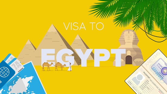 Egypt visa yellow banner. Passport, airline tickets, world map, Egypt visa, camel caravan, Egyptian pyramids and sphinx. Vector poster.