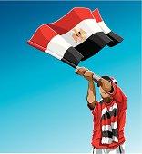 Egypt Waving Flag Soccer Fan
