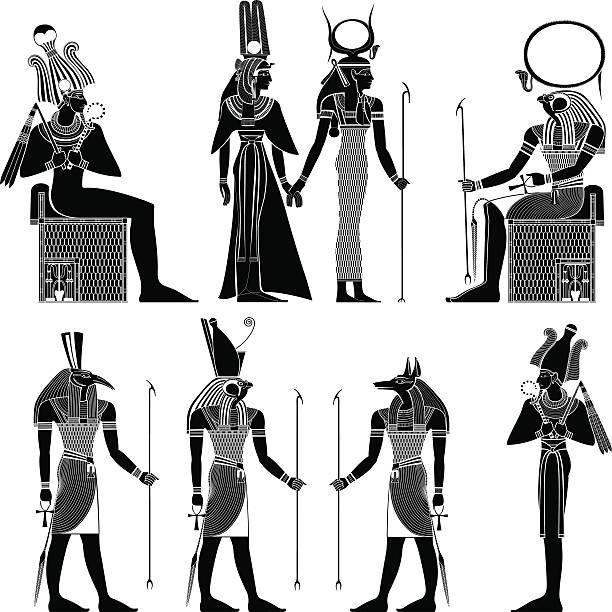 egyptian ancient symbol egyptian ancient symbol, isolated figure of ancient egypt deities egyptian culture stock illustrations