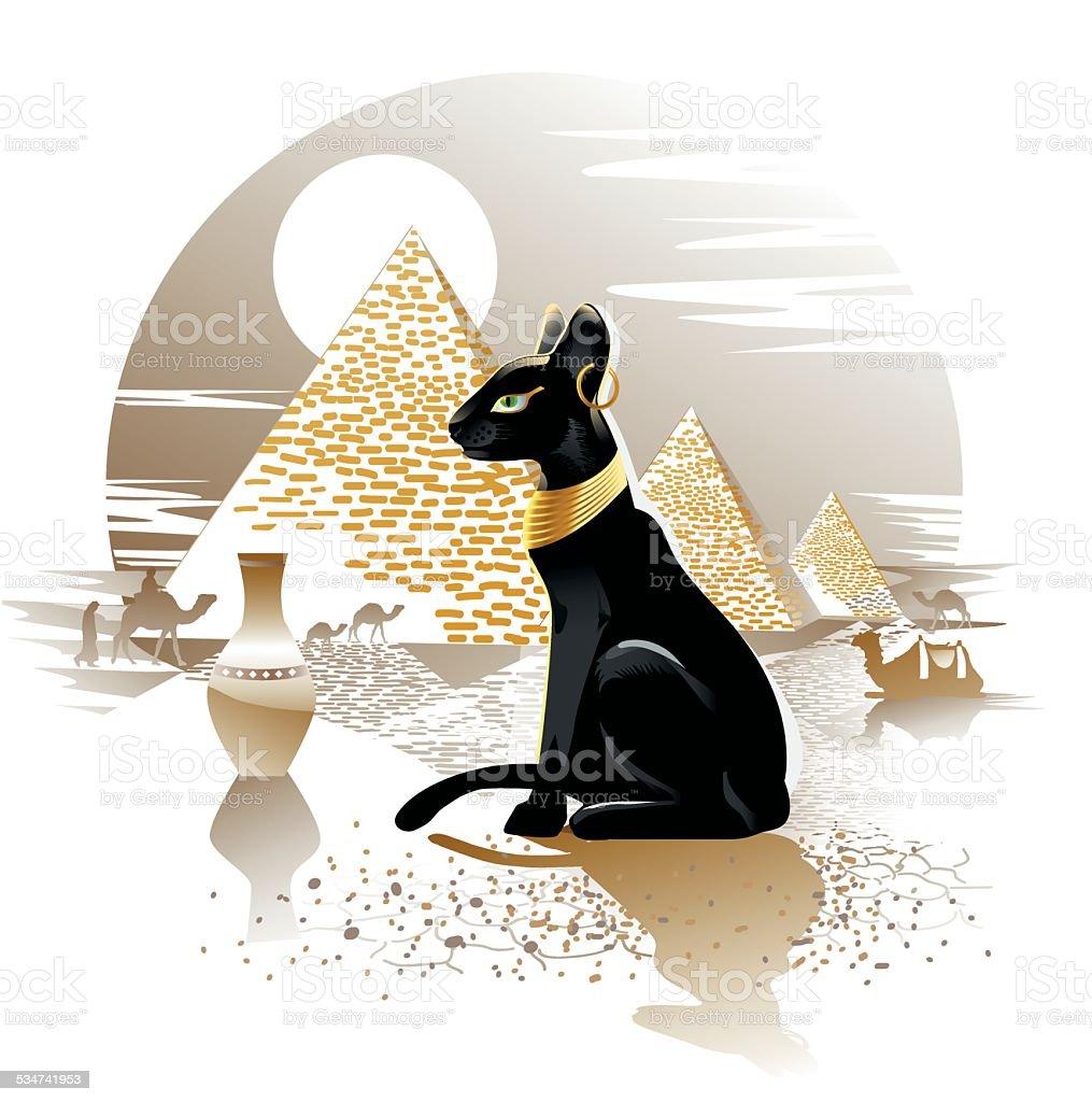 Czarny Kot Egipski Stockowe Grafiki Wektorowe I Więcej Obrazów