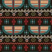 Egyptian seamless borders pattern. Ethnic print - vector artwork