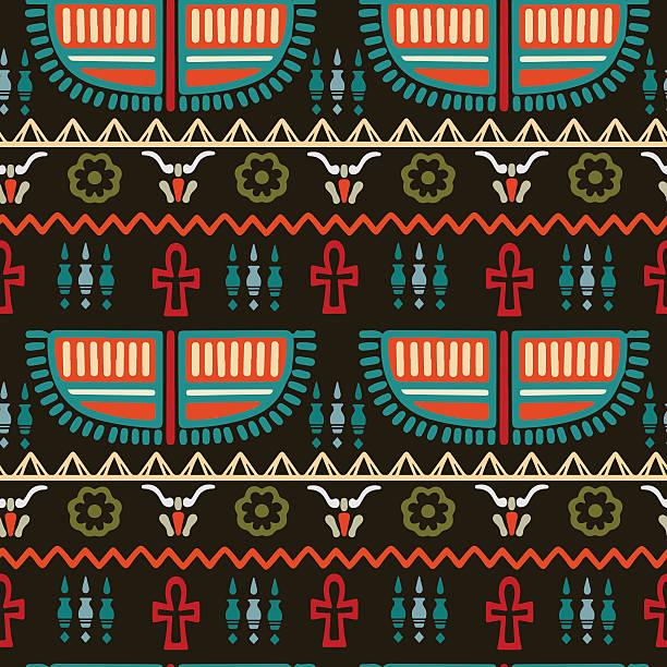 Egyptian borders pattern vector art illustration
