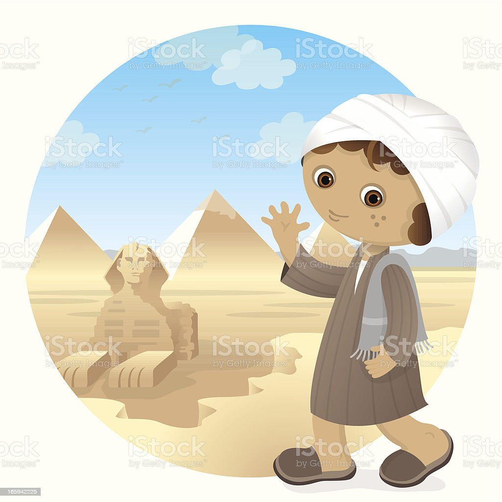 Egyptian boy at Great Spynx of Giza vector art illustration