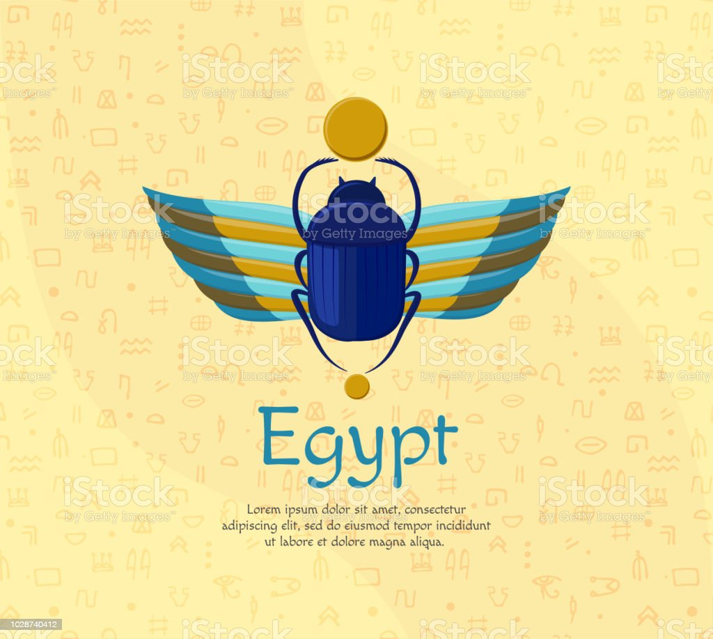 Egyptian Bugbeetle With Wings Symbolism Of Ancient Egypt Scarabeus