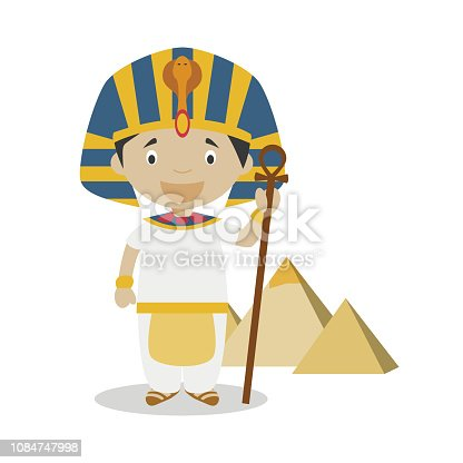 Egyptian cartoon character with Gizah Pyramids. Vector Illustration. Kids History Collection.