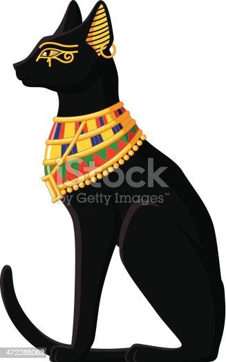 Illustration of Egyptian cat isolated on white background.