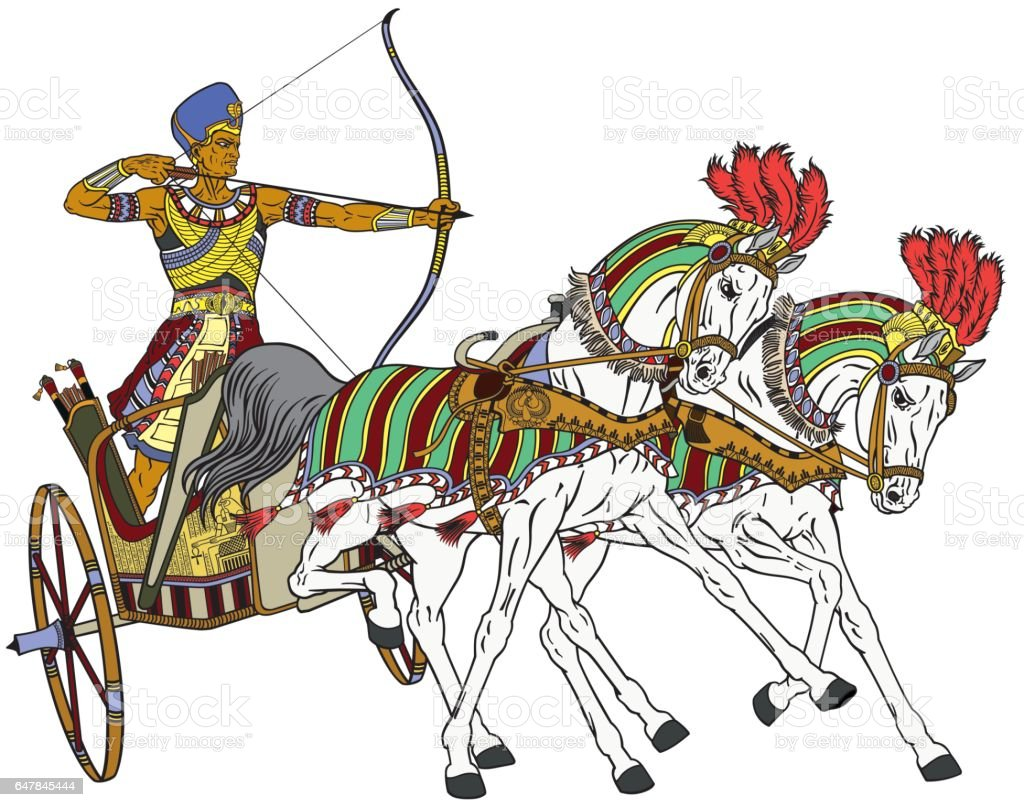 egyptian chariot vector art illustration