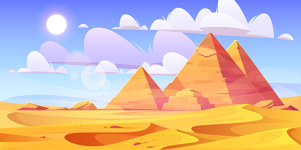 Egyptian desert with ancient pyramids