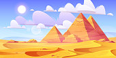 Egyptian desert with pyramids. Vector cartoon illustration of landscape with yellow sand dunes, ancietn pharaoh tombs, hot sun and clouds in sky. Background with pyramids in Egypt desert