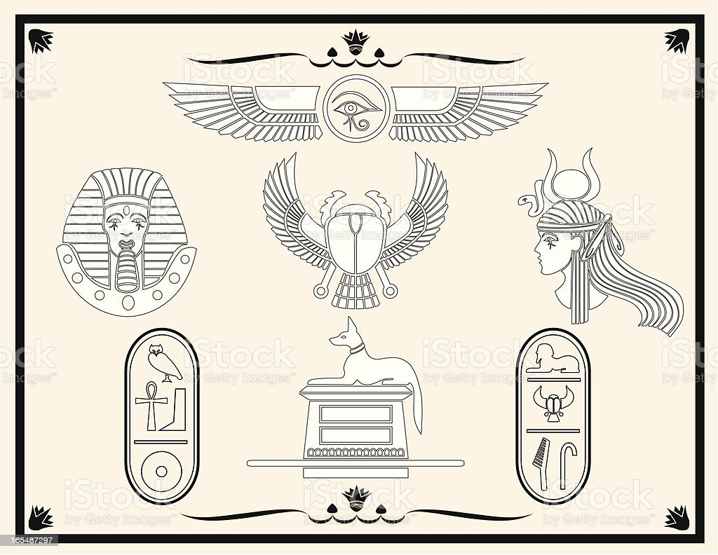 Egyptian Design Elements vector art illustration