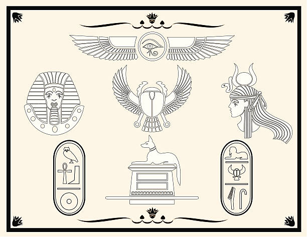 Egyptian Design Elements A variety of different Egyptian designs. Elements are grouped on separate layers. Hi-Res JPEG, CS2 and CS3 files included. egyptian culture stock illustrations