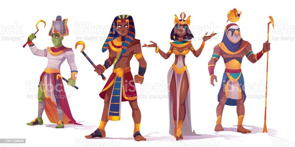 Egyptian God Amun Osiris Pharaoh And Cleopatra Stock Illustration Download Image Now Istock