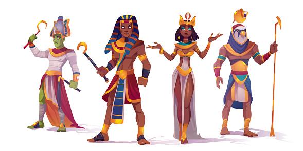 Egyptian god Amun, Osiris, Pharaoh and Cleopatra