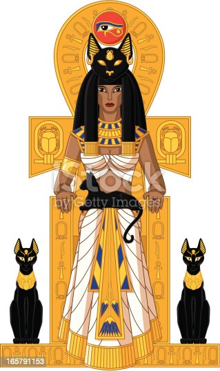 Illustration of Egyptian goddess Bastet sitting on the throne with cats isolated on white background.