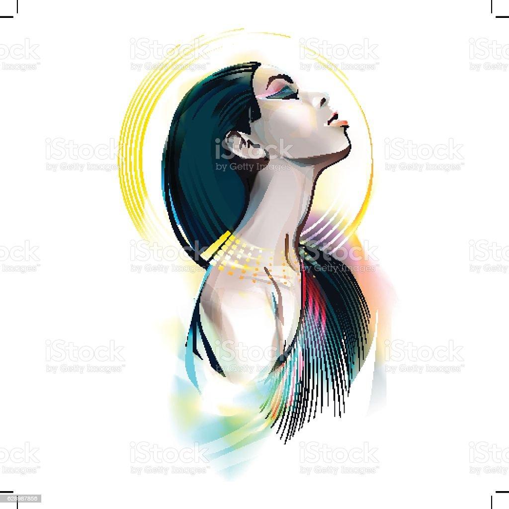 Egyptian Goddess. Portrait Of A Girl vector art illustration