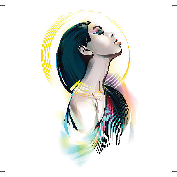 egyptian goddess. portrait of a girl - nofretete stock-grafiken, -clipart, -cartoons und -symbole