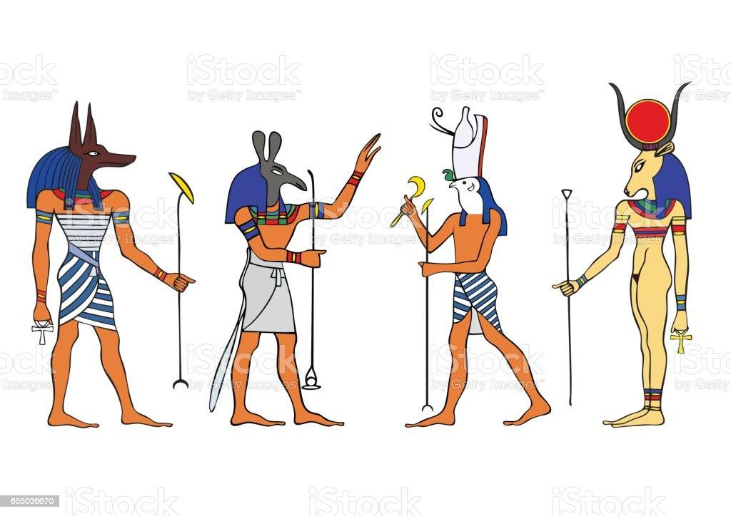 Egyptian gods and goddess vector art illustration