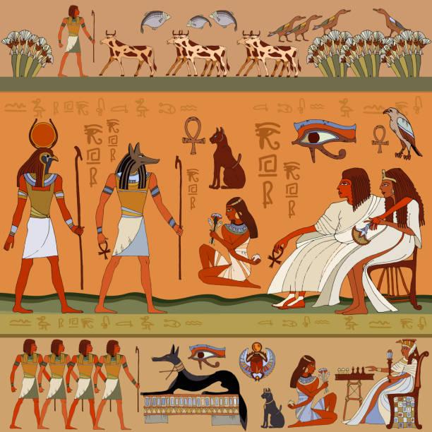 Egyptian gods and pharaohs. Ancient Egypt scene, mythology. vector art illustration