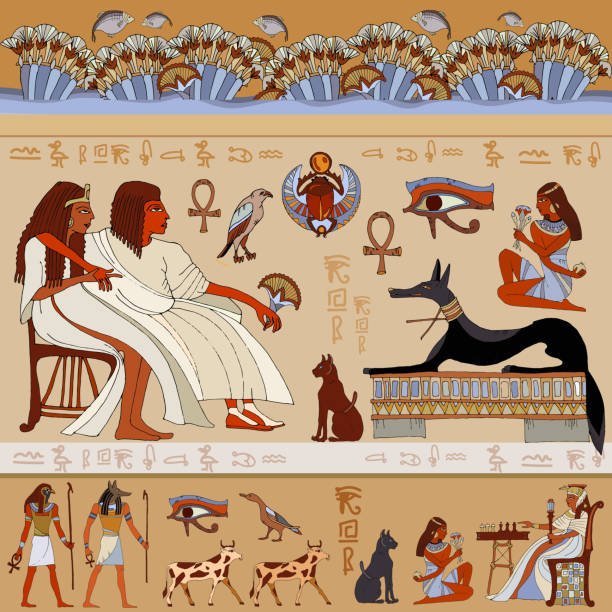 egyptian gods and pharaohs. ancient egypt - nofretete stock-grafiken, -clipart, -cartoons und -symbole